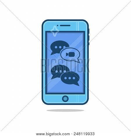 Isolated Mobile Phone With Chat Message On Screen. Social Network - Chatting And Messaging Concept T