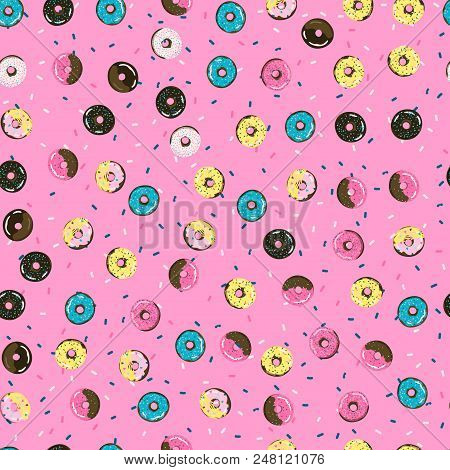 Sweet Seamless Pattern With Donuts. Retro Background. Stock Vector