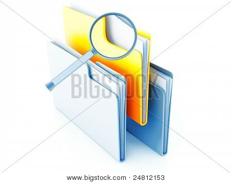 yellow and blue folders with papers under magnification
