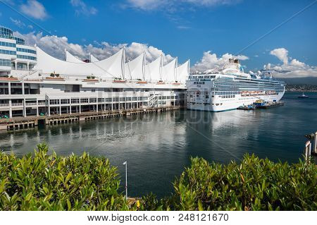 Vancouver, British Columbia, Canada - 13 September 2017: MS Island Princess cruise ship docked at the Vancouver Canada Place Cruise Ship Terminal