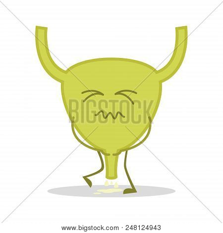Vector Illustration Of A Sick And Sad Bladder In Cartoon Style.