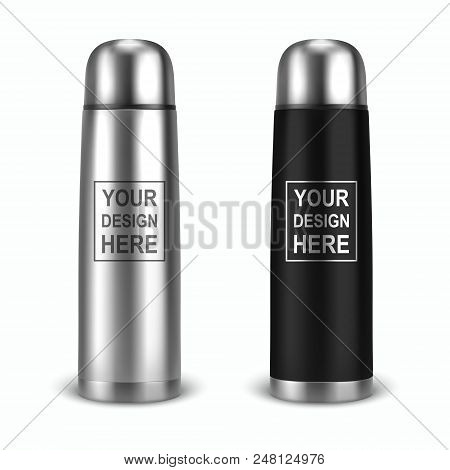 Vector Realistic 3d Empty Glossy Metal Vacuum Thermo Tumbler Flask Icon Set Closeup On White Backgro