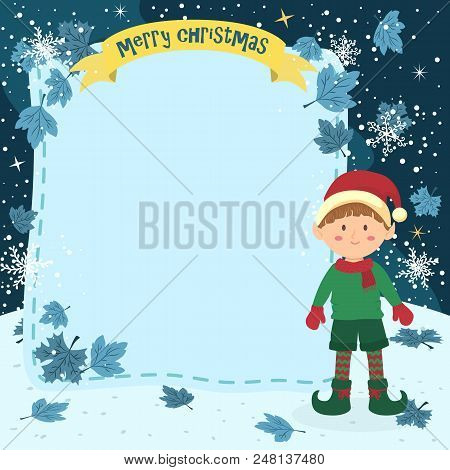 Notes christmas elf vector photo free trial bigstock notes christmas elf boy illustration of christmas greeting card with elf boy in winter night m4hsunfo