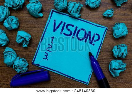 Handwriting Text Vision Question. Concept Meaning Company Commitment Describing Future Realistic Sta
