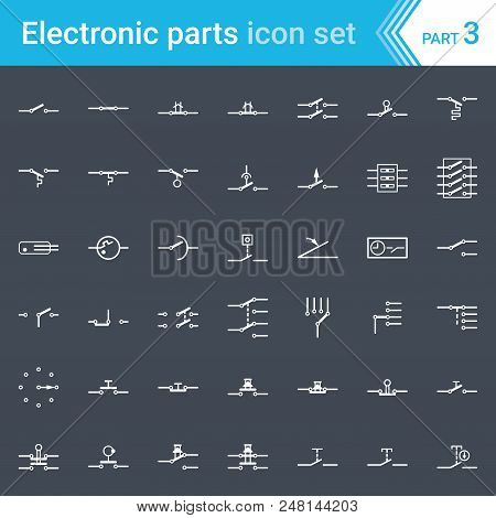 Complete Vector Set Of Electric And Electronic Circuit Diagram Symbols And Elements - Switches, Push