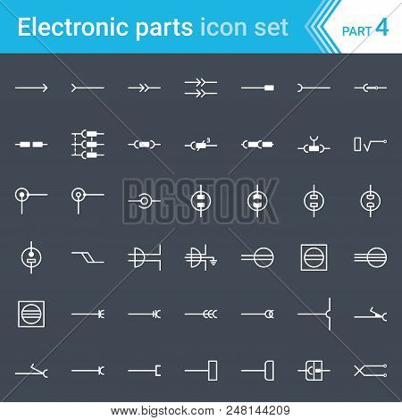 Complete Vector Set Of Electric And Electronic Circuit Diagram Symbols And Elements - Electrical Con