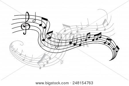 Musical Note And Treble Clef On Swirling Stave Icon. Musical Notation Symbol Of Classic Music Compos