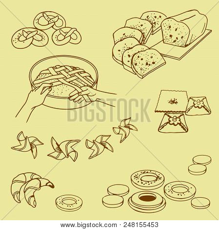 Different Pastries, Cake, Buns, Cake On A Beige Background