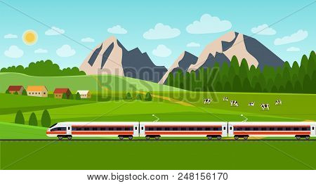 Train On Railway. Summer Landscape With Village And Herd Of Cows On The Field. Vector Flat Style Ill