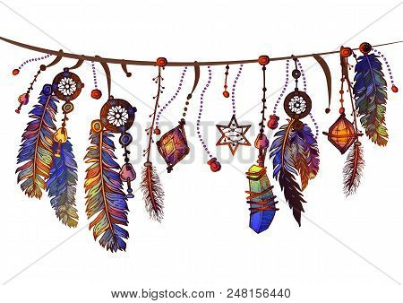 Background Of Textured Feathers And Crystals In Aztec Style. Border With Ornate Boho Vintage Style S