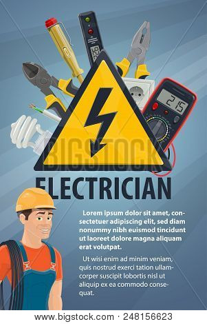 Electrician With Electrical Equipment And Work Tool Banner. Electrician Or Lineman In Hard Hat With