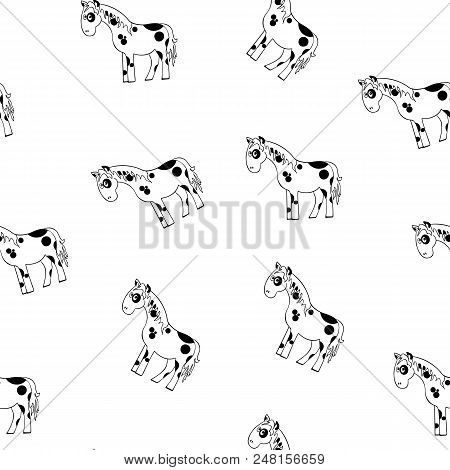 Cartoon Horse Seamless Pattern. Black And White Vector Illustration Of A Cartoon Horse. White Horse