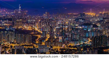 Panorama View After Sunset On Kowloon Peak, Hong Kong
