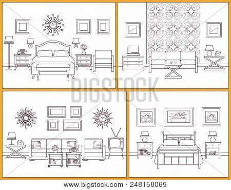Living Room And Bedroom Interiors. Vector. Linear Rooms With Furniture. Retro House Scene. Flat Line
