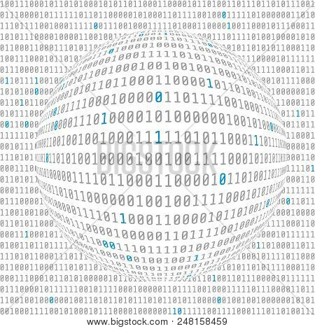 Binary Data View. Cybersecurity. Binary Code Concave Hemisphere With Allocated Key Bits. Vector