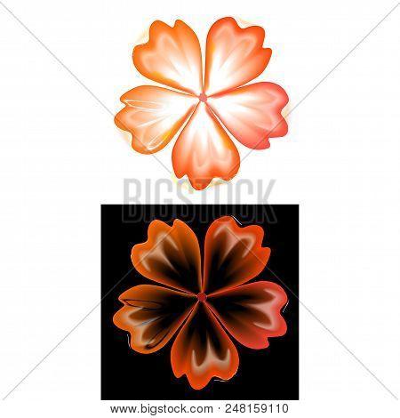 Smoky Pattern Flower Five Petal Set Isolated On Background (vector Illustration)