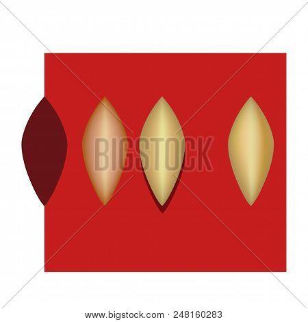 Pocket Bag Design Golden Metal Pattern Petal Isolated On Background (vector Illustration)