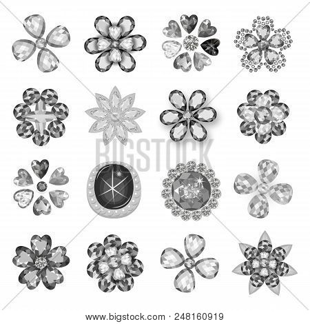 Gemstones Jewelry Brooch Flower Pattern Set Isolated On White Background (vector Illustration)