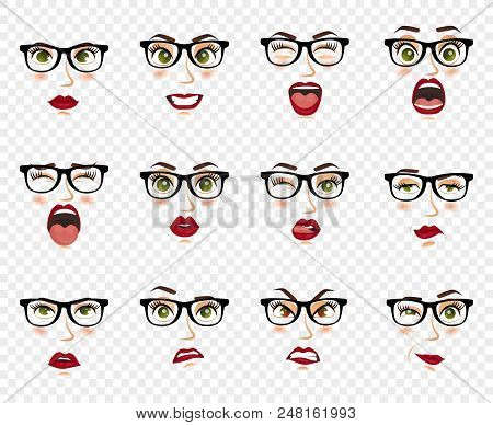 Woman With Glasses Facial Expressions, Gestures, Emotions Happiness Surprise Disgust Sadness Rapture