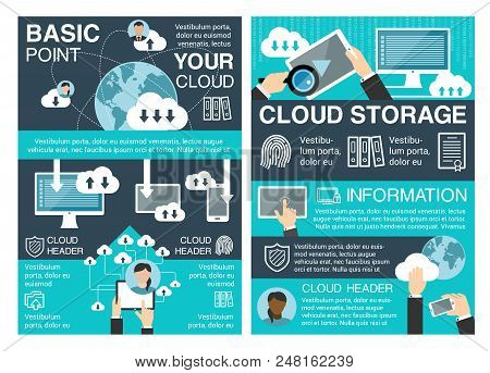 Cloud Storage Concept Banner Set Of Cloud Computing Information Technology. Digital Devices Of Compu