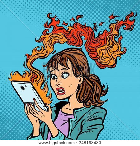 Woman With A Burning Phone. Hot News. Ignition Of The Battery. Comic Cartoon Pop Art Retro Vector Il