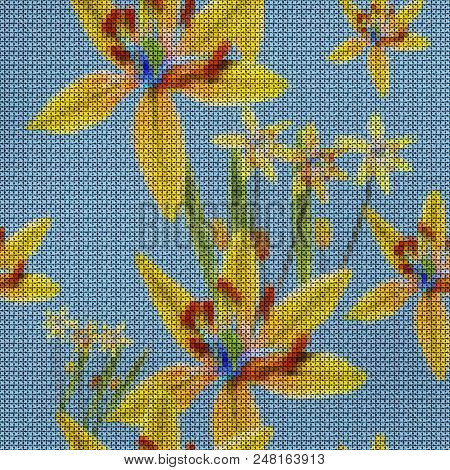 Illustration. Cross-stitch. Bluebell, Scilla, Primroses. Texture Of Flowers. Seamless Pattern For Co