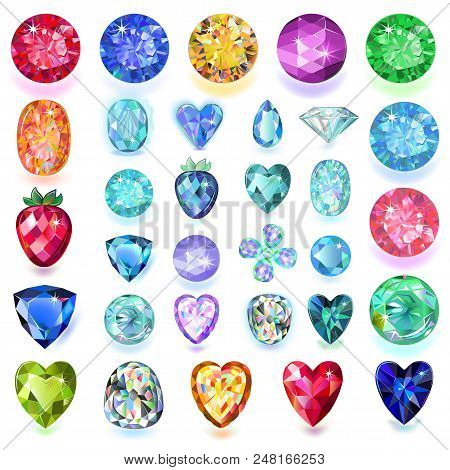 Set Of Colored Gems Isolated On White Background, Vector Illustration