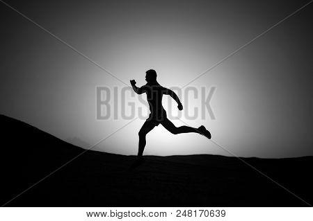 Just Run. Running Man. Sport And Run Healthy Life. Silhouette Or Man Runner, Guy Running Outdoor On
