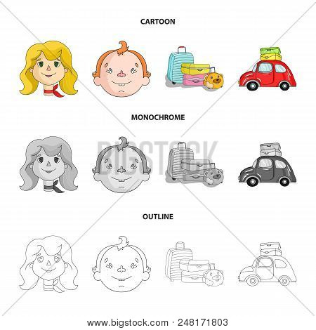 Camping, Woman, Boy, Bag .family Holiday Set Collection Icons In Cartoon, Outline, Monochrome Style