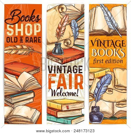 Vintage Bookshop Sketch Banner Of Old And Rare Book And Literature. Ancient Parchment Scroll, Book A