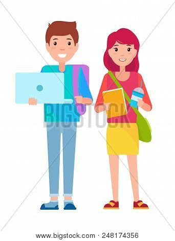 Young Boy And Girl Standing Together, Student Boy With Laptop, Student Girl Holding Cup And Book, Ve