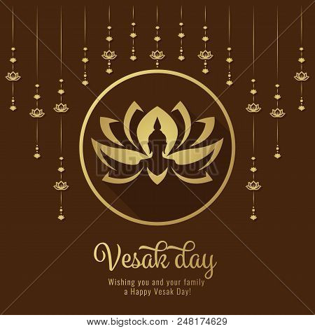 Vesak Day Banner With Lotus Hangers And Buddha Hand On Lotus In Circle Frame Sign Vector Design