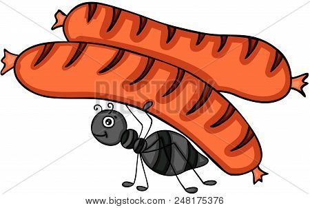 Scalable Vectorial Representing A Ant Carrying A Grilled Sausage, Element For Design, Illustration I