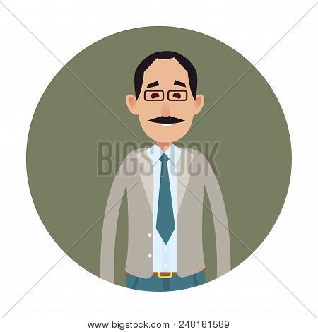 Joyed Businessman Isolated On White Icon. Smiling Mustached Male Character In Glasses And Business S