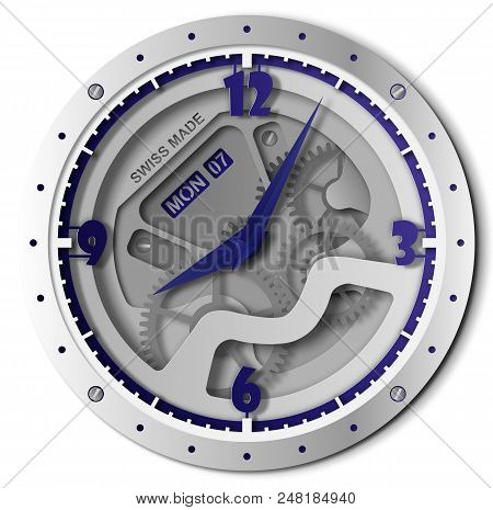 Modern Fashion Silver Blue Vector Clock With Navy Clock Hands Made In Paper Cut Style. Stylish Swiss