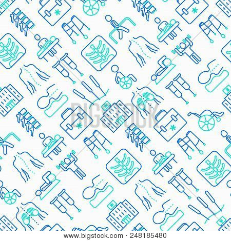Physiotherapy Seamless Pattern With Thin Line Icons: Rehabilitation, Physiotherapist, Acupuncture, M