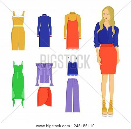 Set Of Various Summer Clothes, Colorful Banner Isolated On White Backdrop, Vogue Dresses And Red Ski