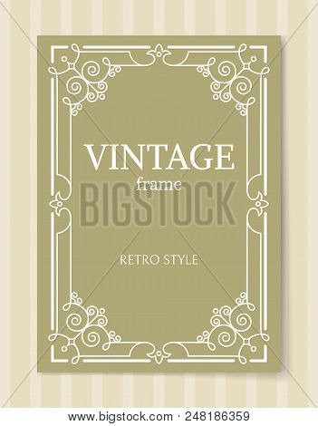 Vintage Frame Retro Style Decorative Border With Corners, Leaves And Curved Elements In Olive And Wh