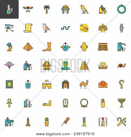 Egypt Elements Filled Outline Icons Set, Line Vector Symbol Collection, Linear Colorful Pictogram Pa