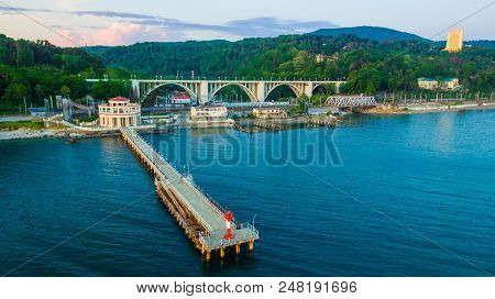 Sochi, Russia - April 27, 2018: Drone View Of Pier Of Matsesta Marine Station An The Background Of T
