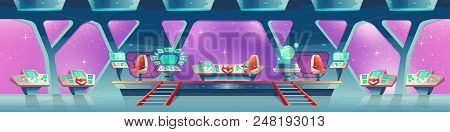 Vector Cartoon Interior Of Spaceship With Control Panels, Virtual Screens. Compartment For Crew With