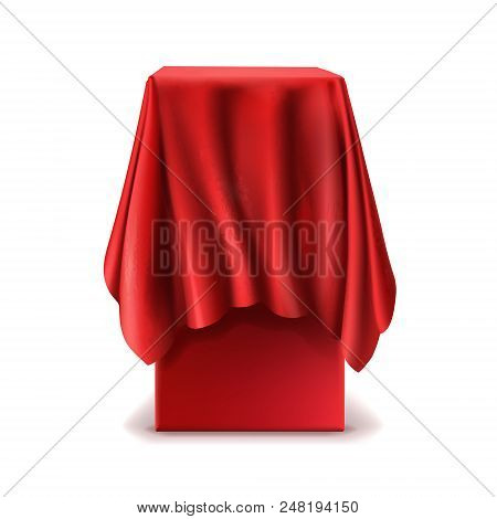 Vector Realistic Stand Covered With Red Silk Cloth Isolated On White Background. Empty Podium, Tribu