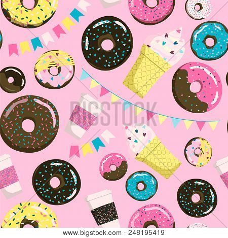 Sweet Seamless Donuts, Coffe And Ice Cream Pattern. Summer Party Background With Flags Garland. Can