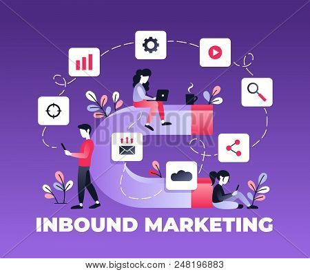 Vector Ultraviolet Illustration Of Attracting Online Customers. Big Magnet And People With Laptop Ar