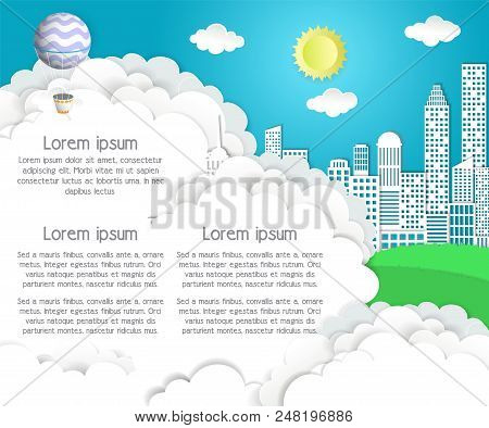 Daylight Sky With Sun, White Clouds, Flying Hot Air Balloons, Cityscape And Copy Space. Vector Illus