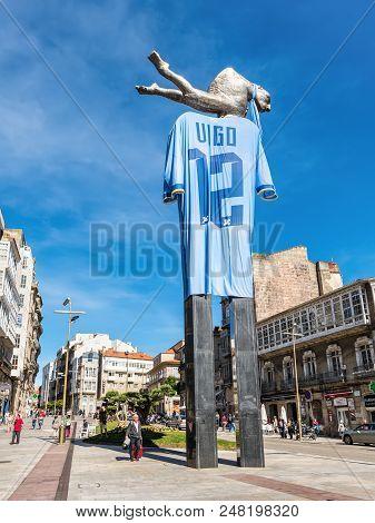 Vigo, Spain - May 20, 2017: The Merman Monument In Vigo Which Has Been Draped In A Giant Celta Vigo