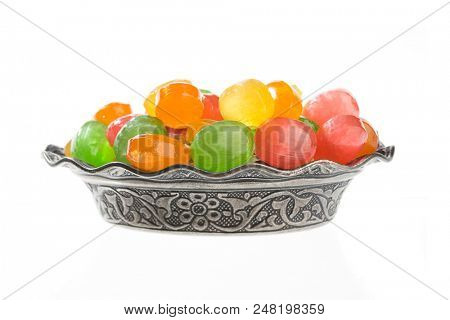 Colorful Hard Candies in Vintage Plate