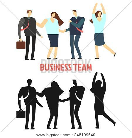 Woman And Man Business Team Isolated On White Background. Flat And Silhouette Business People. Vecto