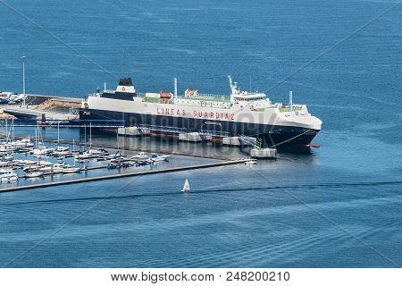 Vigo, Spain - May 20, 2017: Car Carrier Vessel Suar Vigo Moored In The Port Of Vigo, Galicia, Spain.