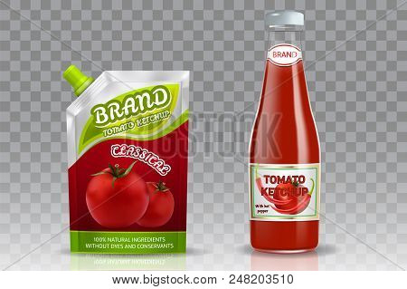 Tomato Ketchup Packaging Mockup Set. Vector Realistic Illustration Of Glass Bottle And Doypack Plast